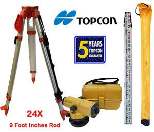 Topcon At b4a 24x Automatic Level With Tripod 9 Foot Rod Inches