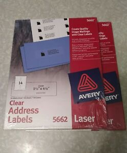 2 Packs Avery 5662 Laser Clear Address Labels 1 1 3 x4 1 8 700 Labels Ea