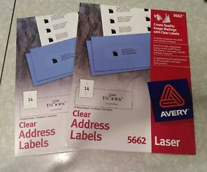 2 Packs Avery 5662 Clear Laser Address Labels 1 1 3x4 1 8