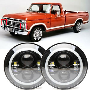 7 Inch Led Headlights Halo Drl Amber Turn Signal Light For Ford F100 1969 1979
