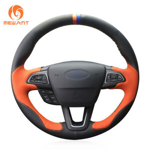 Top Black Orange Leather Steering Wheel Cover For Ford Focus 3 Kuga Escape C max