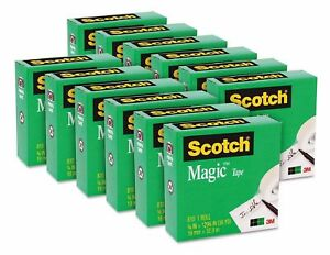 Scotch Magic Tape 3 4 X 1296 1 Core Clear 12 Rolls Matte Free Shipping