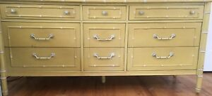 1966 Chic Thomasville Yellow 9 Drawer Dresser Hollywood Regency Vintage