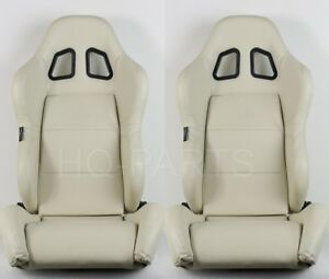 2 X Tanaka Beige Pvc Leather Racing Seats Dual Recliner Sliders Fit For Nissan