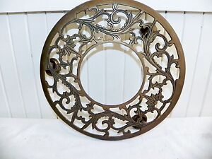 Vintage Antique Brass Embossed Art Nouveau Plant Stand Rolling Rollers Caddy 11