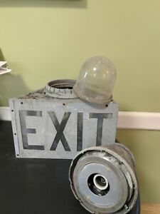 Vintage Exit Sign Metal And Glass Industrial Exit Electric Lighted Sign