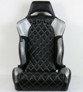 1 X Tanaka Universal Black Silver Pvc Leather Racing Seat Recline Diamond Stitch