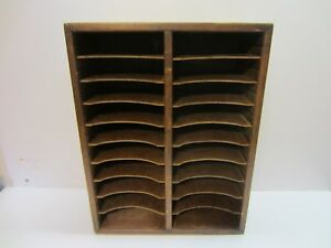 Vtg Wood Paper Letter Tray File Shelf Cubby Cabinet Desk Top Office Furniture