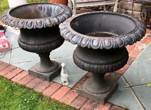 Nice Large Pair Of Cast Iron Antique Garden Urns