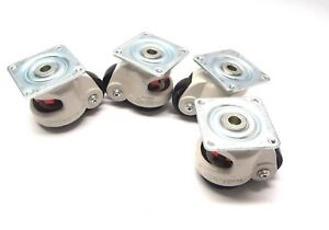 Lot Of 4 Carrymaster Ac 300 Leveling Plate Casters 3 25 X 2 875 X 2 875