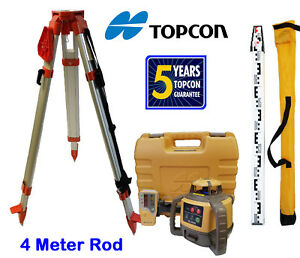 New Topcon Rl h5a Rotary Laser Level With Tripod And 4 Meter Rod E Scale