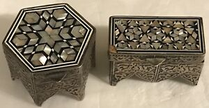 2 Vintage 1940 S Egyptian Hallmarks Sterling Silver Trinket Boxes W Mop Inlay