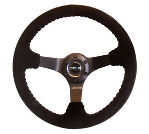 New Nrg Race Steering Wheel Black Suede Black Spokes Rst 036mb s