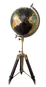12 Big World Globe With Leather Stand Item Vintage Nautical Authentic Decor Map