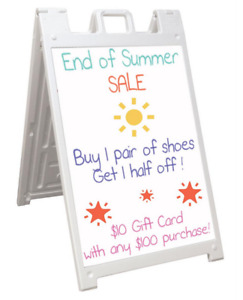 White Double Sided 24 X 36 Portable Outdoor Sidewalk Sign W Wet Erase Board