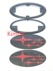 2x Jdm Forester Red Front Grille rear Glossy Badge Emblems 2014 18 For Subaru