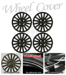 Universal Fit 15 Inch Matte Blk Set Of 4 Hub Cap Wheels Cover Steel Rims Skin