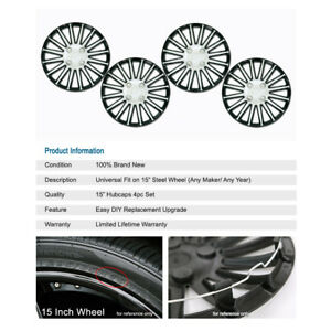 4pcs R15 Inch Cap Lug Rim Skin Chrome Black Wheels Cover Hubcap For Chrysler