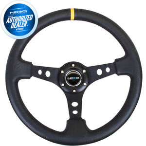 New Nrg 3 Deep Steering Wheel Black Leather Center Yellow Stripe Rst 006bk y