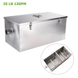 25lb 13gpm Commercial Kitchen Stainless Steel Grease Trap Oil Interceptor