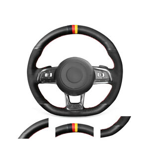 Diy Black Leather Suede Steering Wheel Cover For Vw Golf 7 Gti Golf R Mk7 Polo