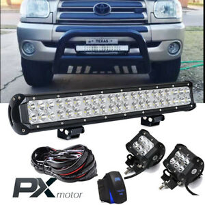 20inch 22 Spot Flood Combo Led Light Bar With Wiring Harness Kit Pods 4 Lamp