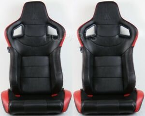2 Tanaka Black Red Pvc Leather Racing Seat Reclinable Back Pocket Fits Mustang