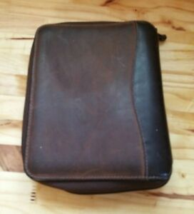 Franklin Covey Full Grain 2 Tone Leather Planner Zipper Organizer Brown 1996