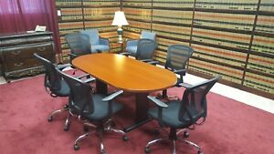 Knoll Reff Track Shaped Conference Table Cherry Wood Veneer