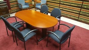 Knoll Track Shaped Conference Table Wood Veneer