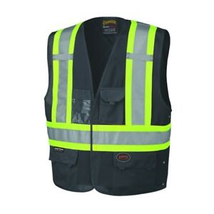 Reflective Safety Vest Work Night Durable Velcro Visible Black Tough Sale New