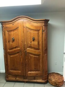 Country Pine Antique Armoire Wardrobe Or Closet