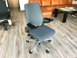 Steelcase Gesture Office Chair Adjustable Shell Back Platinum Frame Gray Fabric