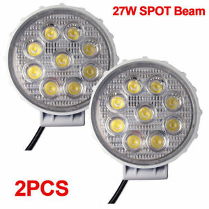 2x 4 5inch 27w Round Spot Led Work Light Fog For Truck Jeep Off Road Atv 4wd 4x4