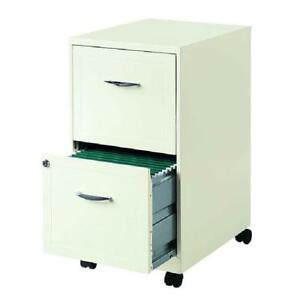 2 drawer Pearl White Steel File Cabinet With Casters