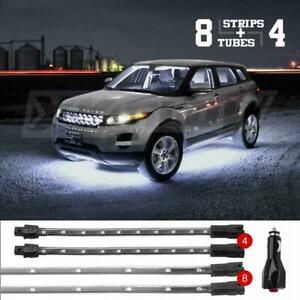 White Premium 12pcs Led Undercar Interior Led Neon Accent Light Kit 3 Pattern