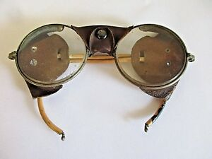 Vintage Steampunk Round Leather Safety Welders Aviator Motorcycle Glasses