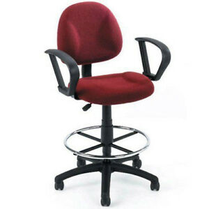 Loop Arm Drafting Stool With Contoured Back red
