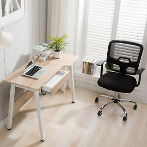 Computer Desk Pc Table Wood Workstation Home Office Furniture Drawer Adjust Pad
