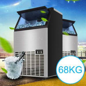 68kg Commercial Ice Maker Machines Cube Stainless Steel Bar Restaurant 150lbs Us