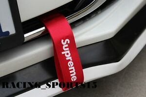 Universal Jdm Red Supreme Racing Drift Rally Car Front Bumper Tow Strap Belt