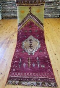 Exquisite 1930 1940 S Antique Natural Dye 2 7 7 10 Wool Pile Tribal Runner Rug