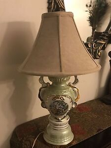 Vintage Hand Painted Porcelain Victorian Couple Table Lamp