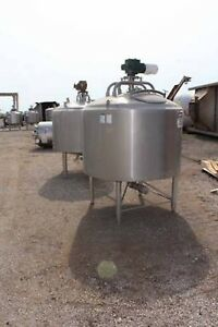 500 Gallon 316 Stainless Steel Apv Crepaco Jacketed Mixing Tanks 2 Units
