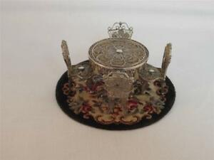 800 Silver Set Miniature Table 4 Chairs Vtg Filigree 1 24 Dollhouse Scale