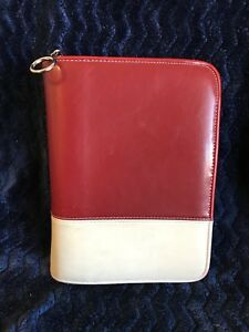 Compact 1 25 Rings Red Leather Two Tone Franklin Covey Zip Planner binder