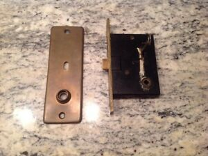 Vintage Chantrell Brass Entry Mortise Lock W Key Backplate Free Ship