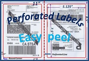 700 Perforated Round Corner Shipping Labels 2 Per Sheet 8 5 X 11 self Adhesive