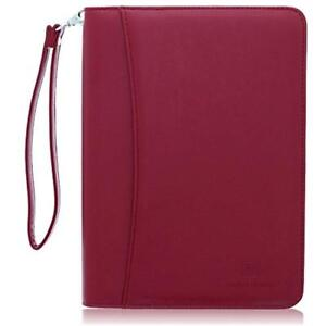 Small Zippered Business Padfolio Junior Legal Notepad Burgundy Pu Leather 8 By