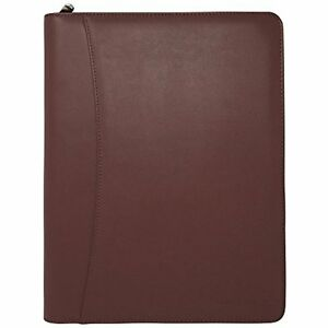 Zippered Leather Business Portfolio Padfolio Professional Light Brown Pu 10 5
